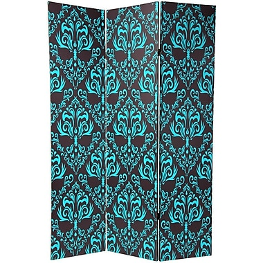 Oriental Furniture 70.88'' x 47'' Double Sided Damask 3 Panel Room Divider