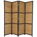 Oriental Furniture 70.75'' Tall Woven Accent 4 Panel Room Divider; Black
