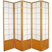 Oriental Furniture 70.25'' x 70'' Asian Zen 5 Panel Room Divider; Honey
