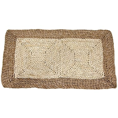Oriental Furniture Rush Grass and Maize Two Tone Dark Ivory Area Rug; 31'' x 18'' x 0.5''
