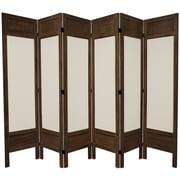 Oriental Furniture 67'' Tall Solid Frame Fabric 6 Panel Room Divider; Brown