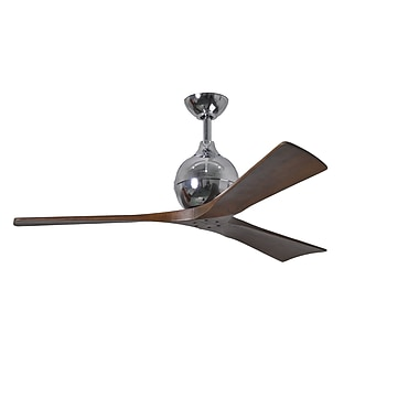 Matthews Fan Company 52'' Irene 3 Blade Ceiling Fan with Wall Remote; Polished Chrome