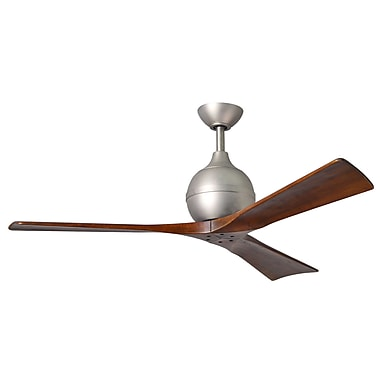 Matthews Fan Company 52'' Irene 3 Blade Ceiling Fan with Wall Remote; Brushed Nickel