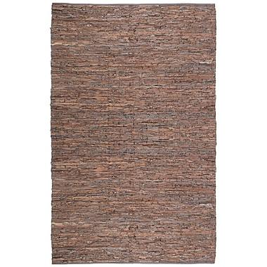 St. Croix Matador Leather Chindi Brown Area Rug; 4' x 6'