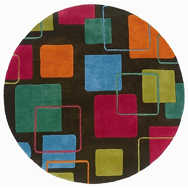 LR Resources Vibrance Grey Geometric Squares Rug; Round 3'