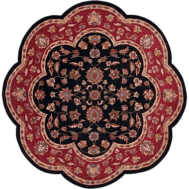 LR Resources Shapes Black/Red Persian Area Rug; Novelty 7'9''