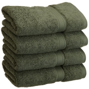 Simple Luxury Superior 900 GSM Egyptian Cotton 4-Piece Hand Towel Set; Forest Green
