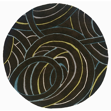LR Resources Vibrance Miami Black Swirls Rug; Round 7'9''