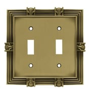 Franklin Brass Pineapple Double Switch Wall Plate; Tumbled Antique Brass