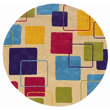 LR Resources Vibrance Ivory Geometric Squares Rug; Round 5'