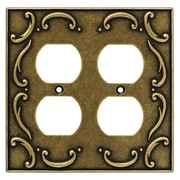 Brainerd French Lace Double Duplex Wall Plate; Burnished Antique Brass