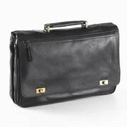 Clava Leather Colored Vachetta Turn Leather Laptop Briefcase; Black