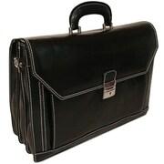 Floto Imports Venezia Attache Case Leather Briefcase; Black