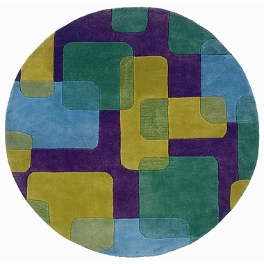 LR Resources Vibrance Purple Squares and Rectangles Rug; Round 3'
