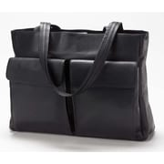 Clava Leather Vachetta Two Pocket Tote Bag; Black