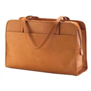 Clava Leather Colored Vachetta Three Section Tote Bag; Tan