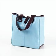Clava Leather Colored Vachetta Oversized Tote Bag; Blue/Caf