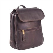 Clava Leather Colored Vachetta Flap Organizer Backpack; Vachetta Cafe