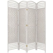 Oriental Furniture 67'' x 51'' Weave 4 Panel Room Divider; White