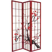 Oriental Furniture 70.25'' x 42'' Bamboo Blossom 3 Panel Room Divider; Rosewood