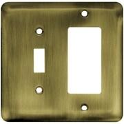Brainerd Stamped Steel Round Single Switch/Decorator Wall Plate; Antique Brass