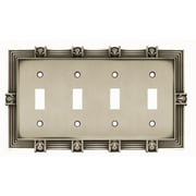 Franklin Brass Pineapple Quad Switch Wall Plate; Brushed Satin Pewter
