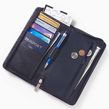 Clava Leather Quinley Zip Passport Wallet; Quinley Black