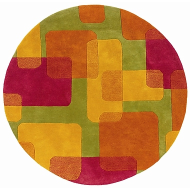 LR Resources Vibrance Lime Squares and Rectangles Rug; Round 3'