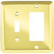 Brainerd Stamped Steel Round Single Switch/Decorator Wall Plate; Polished Brass