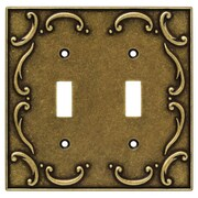 Brainerd French Lace Double Switch Wall Plate; Burnished Antique Brass