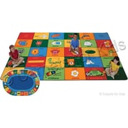 Carpets for Kids Printed Bilingual Alphabet Blocks Area Rug; 7'6'' x 12'