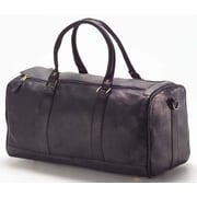 Clava Leather Vachetta Barrel 19'' Leather Travel Duffel; Vachetta Black