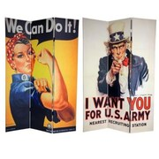 Oriental Furniture 70.88'' x 47.25'' Double Sided WWII Posters 3 Panel Room Divider