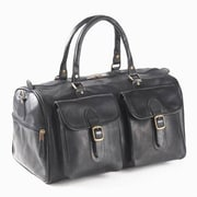 Clava Leather Colored Vachetta Two Pocket 19'' Leather Duffel; Black