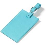 Clava Leather Colored Leather Oversized Rectangular Luggage Tag; Aqua