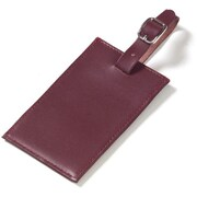 Clava Leather Colored Leather Oversized Rectangular Luggage Tag; Burgundy