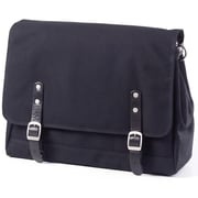 Clava Leather Canvas Messenger Bag; Black