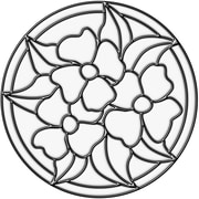 Brewster Home Fashions Pansy Medallion Stained Glass Appliqu  Window Sticker; Clear