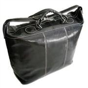 Floto Imports Piana 17'' Leather Travel Duffel; Black