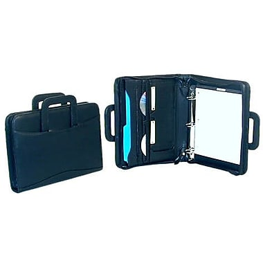 Bond Street Leather-Look Zip Around Ring Binder Padfolio