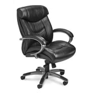 Mayline Ultimo Executive Mid-Back Chair; Black Leather with Gunmetal Gray Frame
