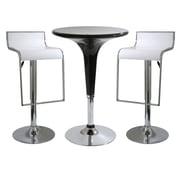 Buffalo Tools AmeriHome 3 Piece Adjustable Height Pub Table Set; White / Black