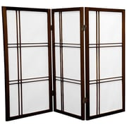 Oriental Furniture 35.75'' x 43'' Double Cross Shoji 3 Panel Room Divider; Walnut