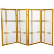 Oriental Furniture 35.75'' x 57'' Double Cross Shoji 4 Panel Room Divider; Honey