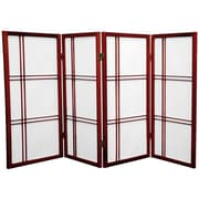 Oriental Furniture 35.75'' x 57'' Double Cross Shoji 4 Panel Room Divider; Rosewood