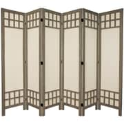 Oriental Furniture 67'' x 85'' Window Pane 6 Panel Room Divider; Burnt Grey