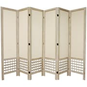 Oriental Furniture 67'' x 85'' Open Lattice 6 Panel Room Divider; Burnt White