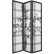 Oriental Furniture 72'' x 42'' Bamboo Tree Double Cross Shoji 3 Panel Room Divider; Black