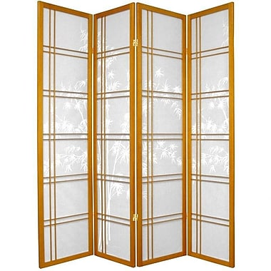 Oriental Furniture 72'' x 56'' Bamboo Tree Double Cross Shoji 4 Panel Room Divider; Honey