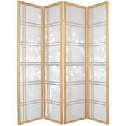 Oriental Furniture 72'' x 56'' Bamboo Tree Double Cross Shoji 4 Panel Room Divider; Natural
